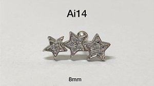 Tragus folheado 3 estrelas haste em aço cirúrgico 8mm (bolinha 4mm)