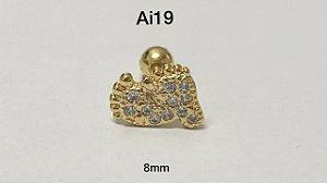 Tragus folheado dourado pés haste em aço cirúrgico 8mm (bolinha 4mm)