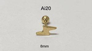 Tragus folheado dourado raio haste em aço cirúrgico 8mm (bolinha 4mm)