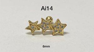 Tragus folheado dourado 3 estrelas haste em aço cirúrgico 8mm (bolinha 4mm)