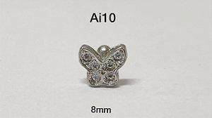 Tragus folheado borboleta haste em aço cirúrgico 8mm (bolinha 3mm)