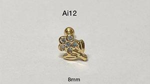 Tragus folheado dourado flor 8mm (bolinha 3mm)