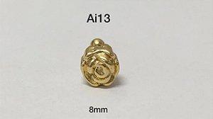 Tragus folheado dourado 8mm (bolinha 3mm)