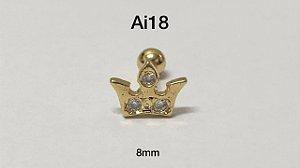 Tragus folheado dourado 8mm (bolinha 4mm)