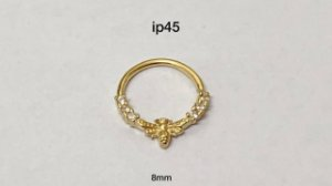 argola em prata 925 dourado 8mm