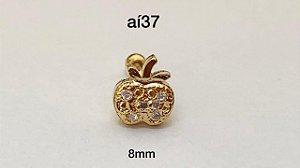 Tragu maçã folheado dourado 8mm