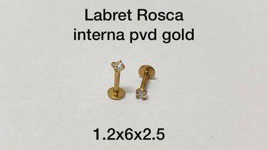 Labret rosca interna pvd gold 6mm