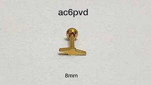 Tragus raio 100% aço pvd 8mm