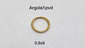 Argola nariz aço pvd 0.8 x 6mm