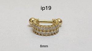 Hélix duplo em prata dourado 8mm