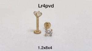 Labret aço pvd rosca interna 8mm pedra 4mm