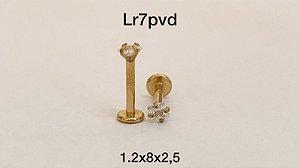 Labret aço pvd rosca interna 8mm pedra quadrado 2,5mm
