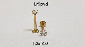 Labret aço pvd rosca interna 10mm pedra 3mm