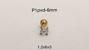 Ponto de luz aço pvd 6mm pedra 3mm