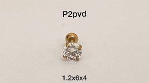 Ponto de luz aço pvd 6mm pedra 4mm