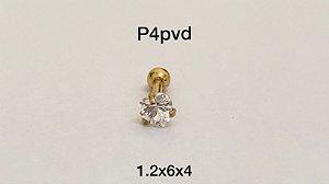 Ponto de luz aço pvd 6mm pedra coração 4mm