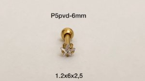 Ponto de luz aço pvd 6mm pedra estrela 2,5mm