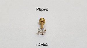 Ponto de luz aço pvd 6mm pedra quadrado 3mm