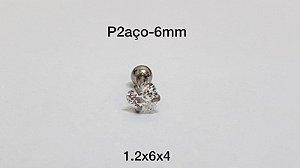 Ponto de luz aço 6mm pedra coração 4mm