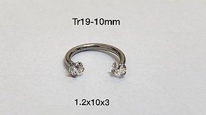 Ferradura rosca interna 10mm pedra coração 3mm