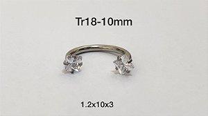 Ferradura rosca interna 10mm pedra quadrado 3mm
