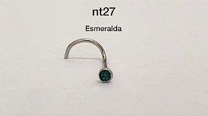 Nostril aço cirúrgico esmeralda 1,50