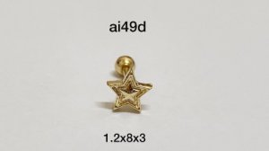 Tragus estrela folheado dourado 8mm