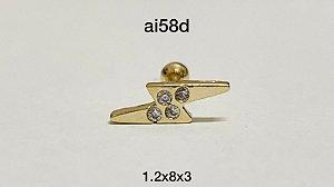 Tragus raio folheado dourado 8mm