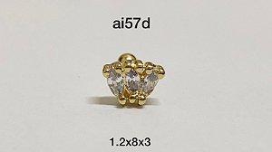 Tragus folheado dourado 3 pedras 8mm