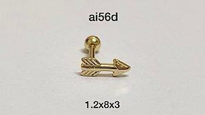 Tragus flecha folheado dourado 8mm
