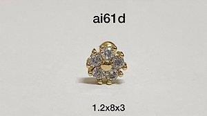 Tragus flor folheado dourado 8mm