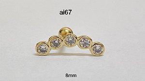 Tragus folheado dourado 8mm cluster