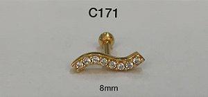 tragus onda em prata dourado 8mm