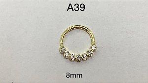 argola folheada dourada 8 mm