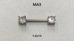 mamilo base 1.6 de 14mm haste em aço cirurgico