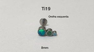 labret titanio 3 pedras 8mm lado esquerdo