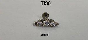 cluster titanio c/3 pedras brancas