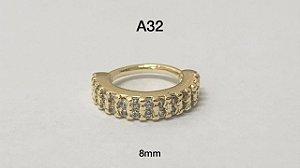 Argola torção folheado dourado 8mm