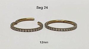 segmento em aço dourado cravejado em zircônia 12mm