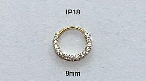argola torçao em prata dourado 8mm