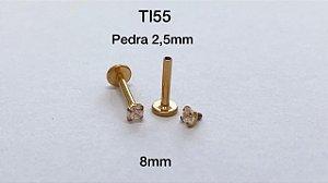 Labret titânio rosc/interna 8mm pedra 2,5mm