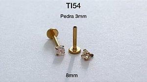 labret rosc/interna titânio 8mm pedra 3mm (Gold pvd)