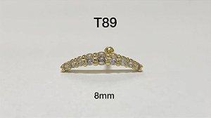 tragus folheado dourado 8mm