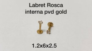 Labret rosca interna pvd gold 6mm