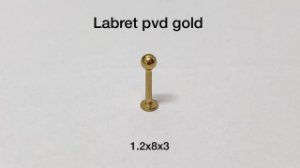 Labret pvd gold 8mm