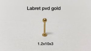 Labret pvd gold 10mm