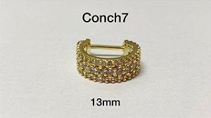 Conch folheado dourado 3 fileiras 13mm