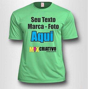 Camiseta Verde Claro 100 % Poliéster Personalize do seu jeito!!!