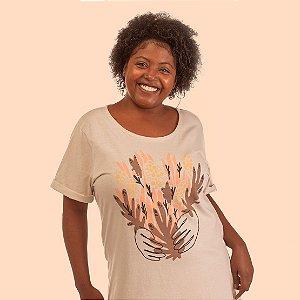 Camiseta Alongada Korui - Folhas