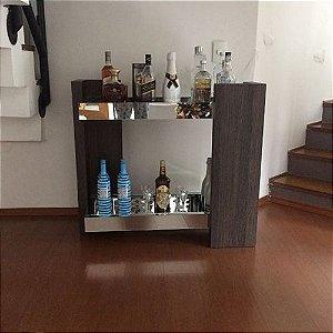 Bar Aparador Luxo Espelhado 2 Niveis